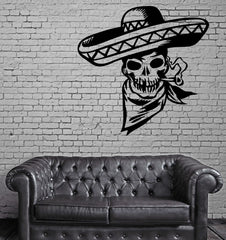 COWBOY SKULL SMOKING Wall MURAL Vinyl Art Sticker M243