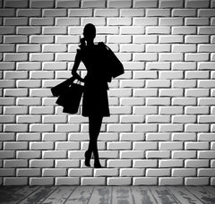 Girl Heels Shopping Bags Fashion Wall Decor Mural Vinyl Decal Art Sticker M280