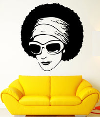 Vinyl Decal African Beauty Sexy Black Girl Sunglasses Decor Modern Wall Art Mural Living Room Sticker Unique Gift (m297)