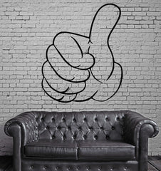 Cartoon Hand Gesture Thumb Up Success Decor Wall Mural Vinyl Decal Sticker Unique Gift M312