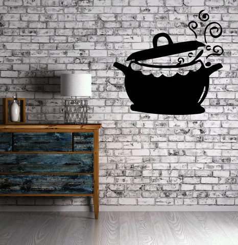 Kitchen Pots and Fry Pans Cooking Kettle Cuisine Wall Sticker Vinyl Decal (m321)