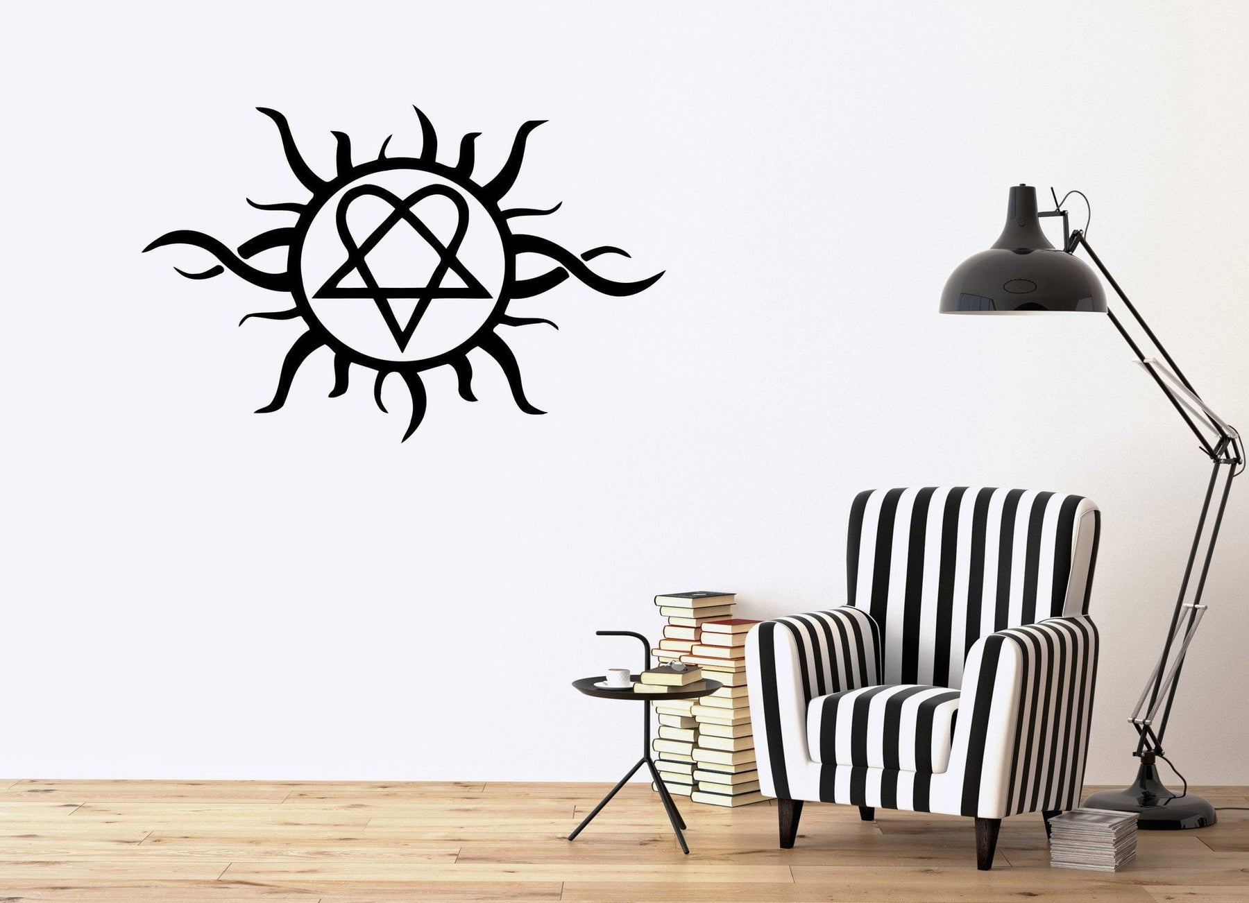 Tribal Sun Design Decorative Flames Ornament Wall Mural Vinyl Art Sticker Unique Gift M325