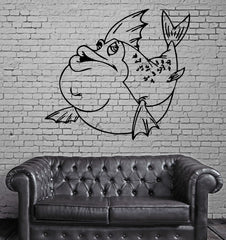 Funny Fish Marine Animal Decor Kid Room Wall Mural Vinyl Art Sticker Unique Gift M338