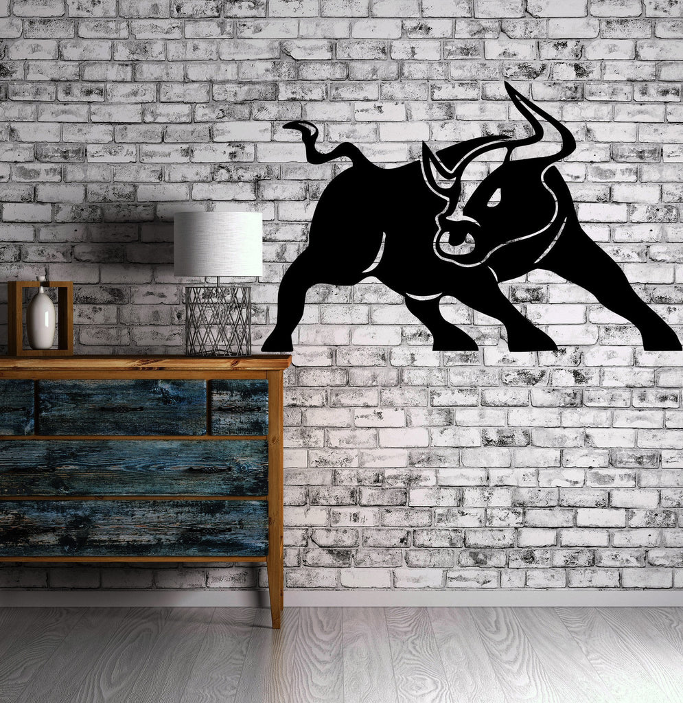 Vinyl decal wall sticker angry bull horns rodeo cowboy ranch animal mo wallstickers4you