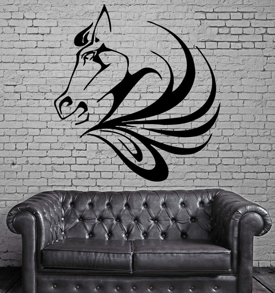 Horse Face Wild Horse Mustang Animal Decor Wall MURAL Vinyl Art Sticker Unique Gift M351