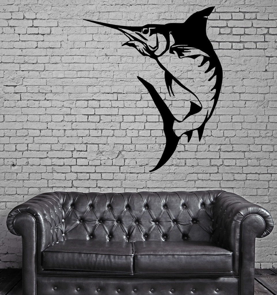Marlin Fish Fishing Hobby Marine Animal Decor Wall MURAL Vinyl Art Sticker Unique Gift M352