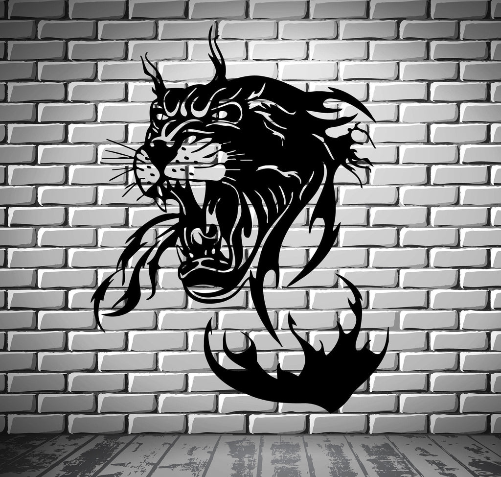 Panther in Flames Jungle Hunter Animal Decor Wall Mural Vinyl Art Sticker Unique Gift M366