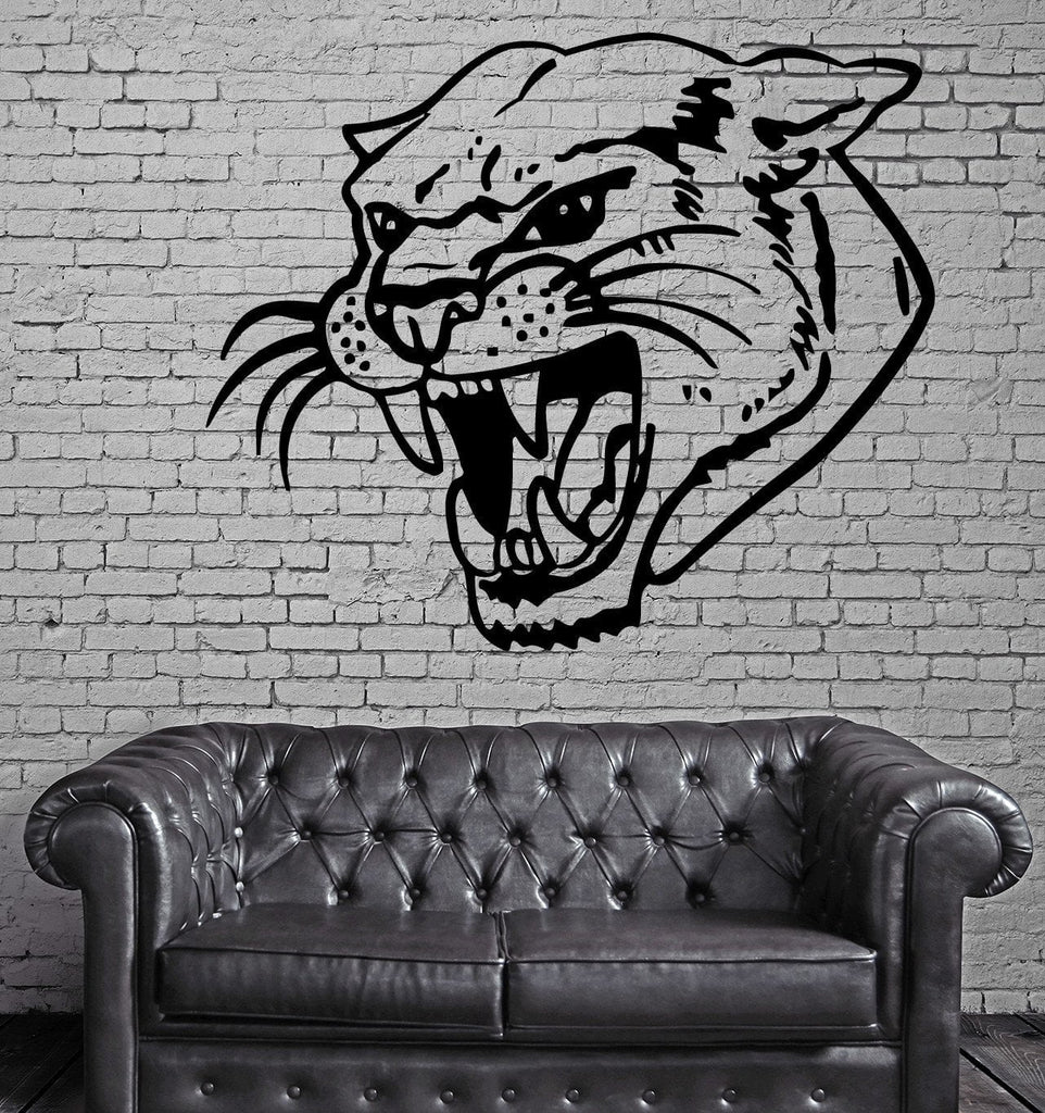 Panther Head Roar Asian Wood Hunt TRIBAL DECOR Wall MURAL Vinyl Art Sticker Unique Gift M406