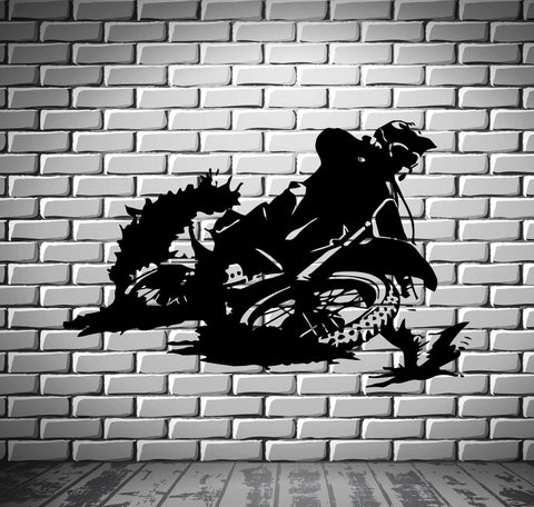 Motorcycle Racer Dirt Bike Motor Sport Decor Wall Mural Vinyl Decal Sticker M416