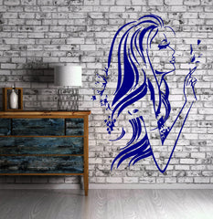 Beautiful Woman Female Long Hair Decor Wall Mural Vinyl Decal Sticker Unique Gift (M418)