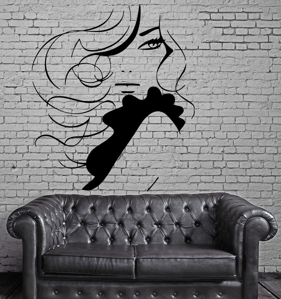Beautiful Sexy Woman Long Wavy Hair Decor Wall Mural Vinyl Decal Sticker Unique Gift M419