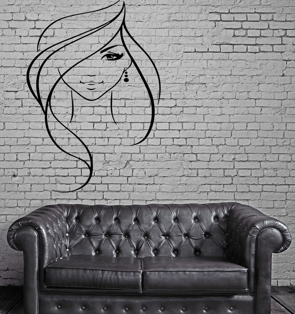 Beautiful Sexy Girl Long Wavy Hair Earring Art Decor Wall Mural Vinyl Decal Unique Gift M421