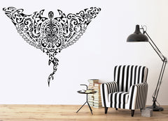 Tribal Manta Ray Ocean Marine Sea Decor Wall Mural Vinyl Decal Art Sticker Unique Gift M441