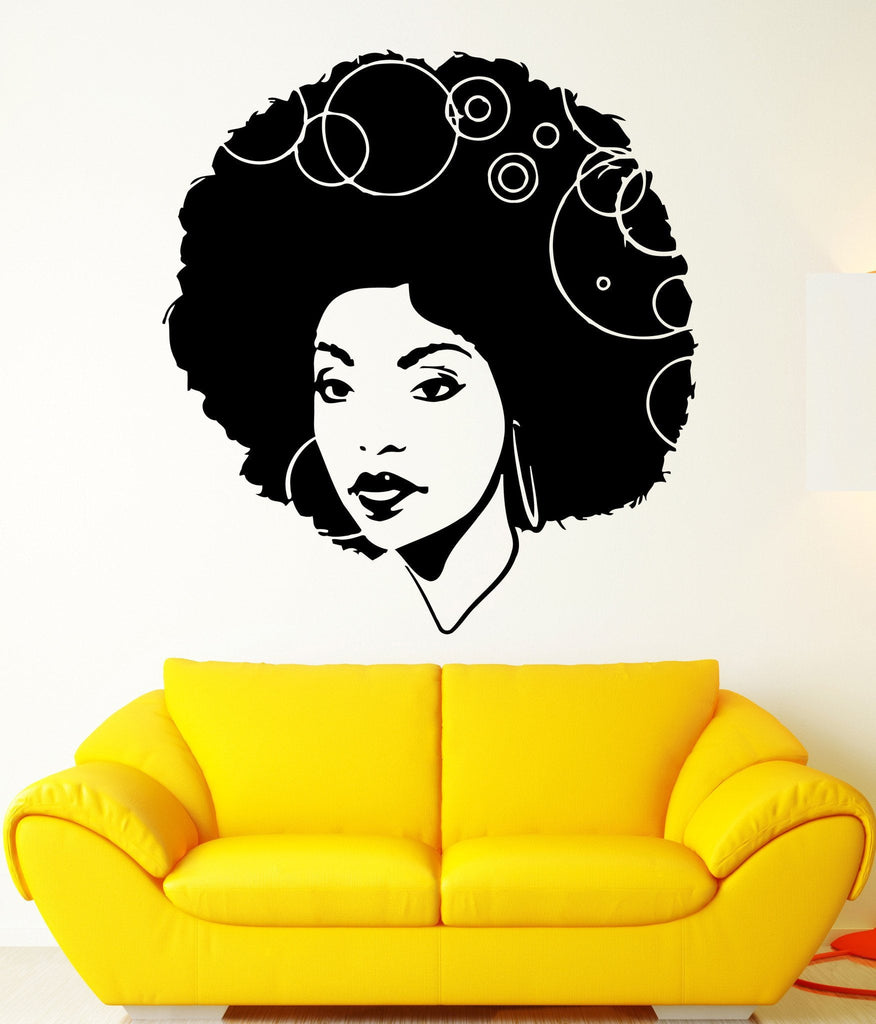 Beautiful African Woman Curly Hair Sexy Art Decor Wall Mural Vinyl Sticker Unique Gift M449