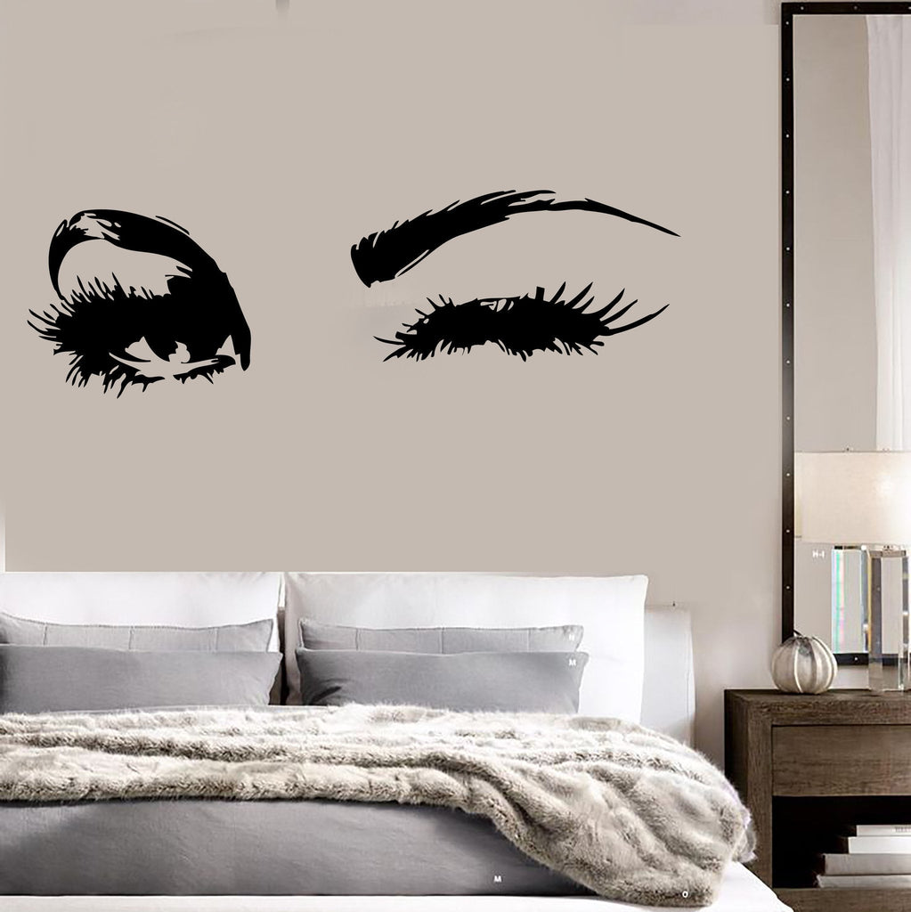 beautiful eyes big eye lashes wink decor wall art mural vinyl decal st wallstickers4you. Black Bedroom Furniture Sets. Home Design Ideas