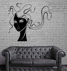 Beauty Sexy Woman Face Curly Hair Decor Wall Art Mural Vinyl Decal Sticker M467