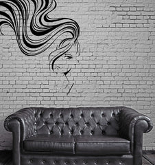 Sexy Woman Face Long Hair Ponytail Bangs Wall Decor Mural Vinyl Art Sticker Unique Gift M549