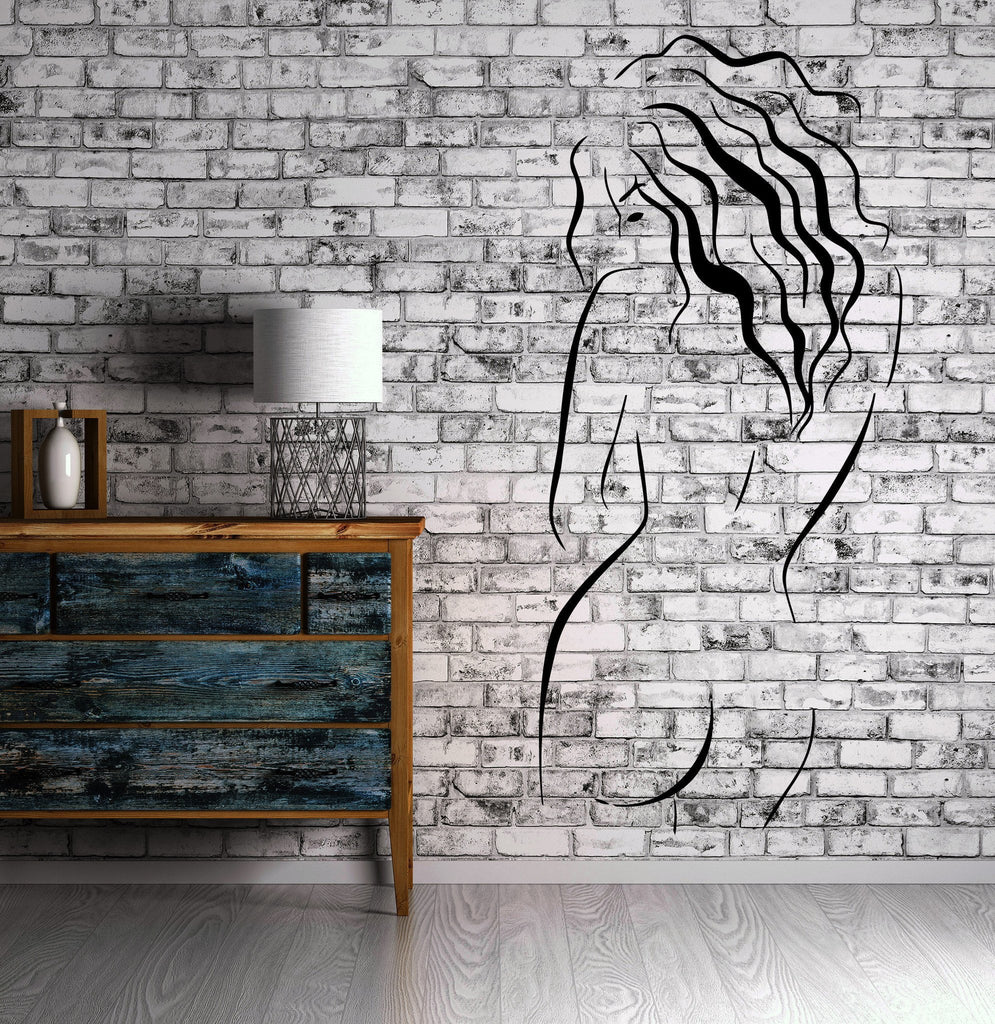 Beautiful Naked Woman Bare Back Wall Decor Mural Vinyl Decal Art Sticker M573
