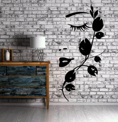 Beautiful Girl Face with Flower Wall Decor Mural Vinyl Decal Art Sticker Unique Gift (m589)