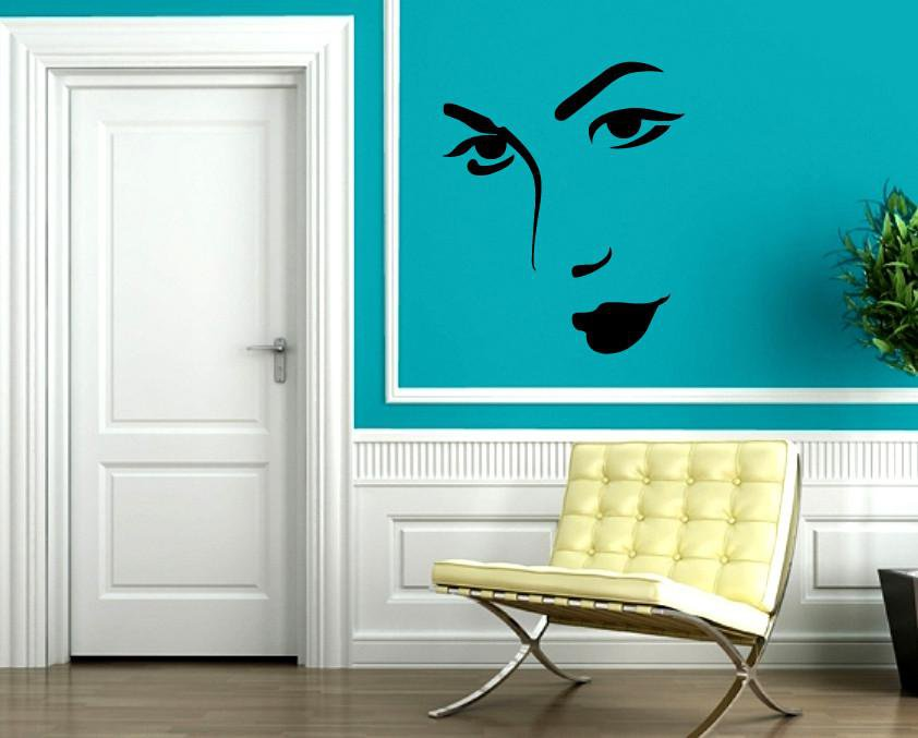Vinyl Decal Wall Sticker Sexy Woman's Face Beautiful Girl Unique Gift (M591)