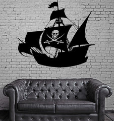 Pirate Ship Skeleton Sail Sea Decor Wall Mural Vinyl Decal Art Sticker Unique Gift M599