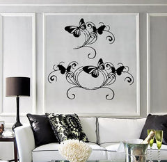 Vinyl Decal Wall Sticker Butterfly Ornament Wavy Lines Home Beauty Decor Unique Gift (M603)