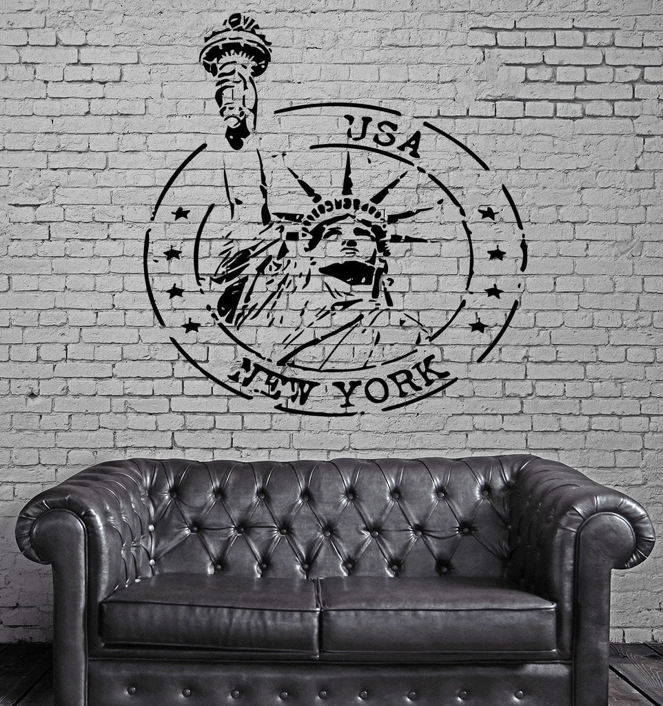 Grunge Rubber Stamp New York Statue of Liberty Wall Mural Vinyl Art Sticker M607