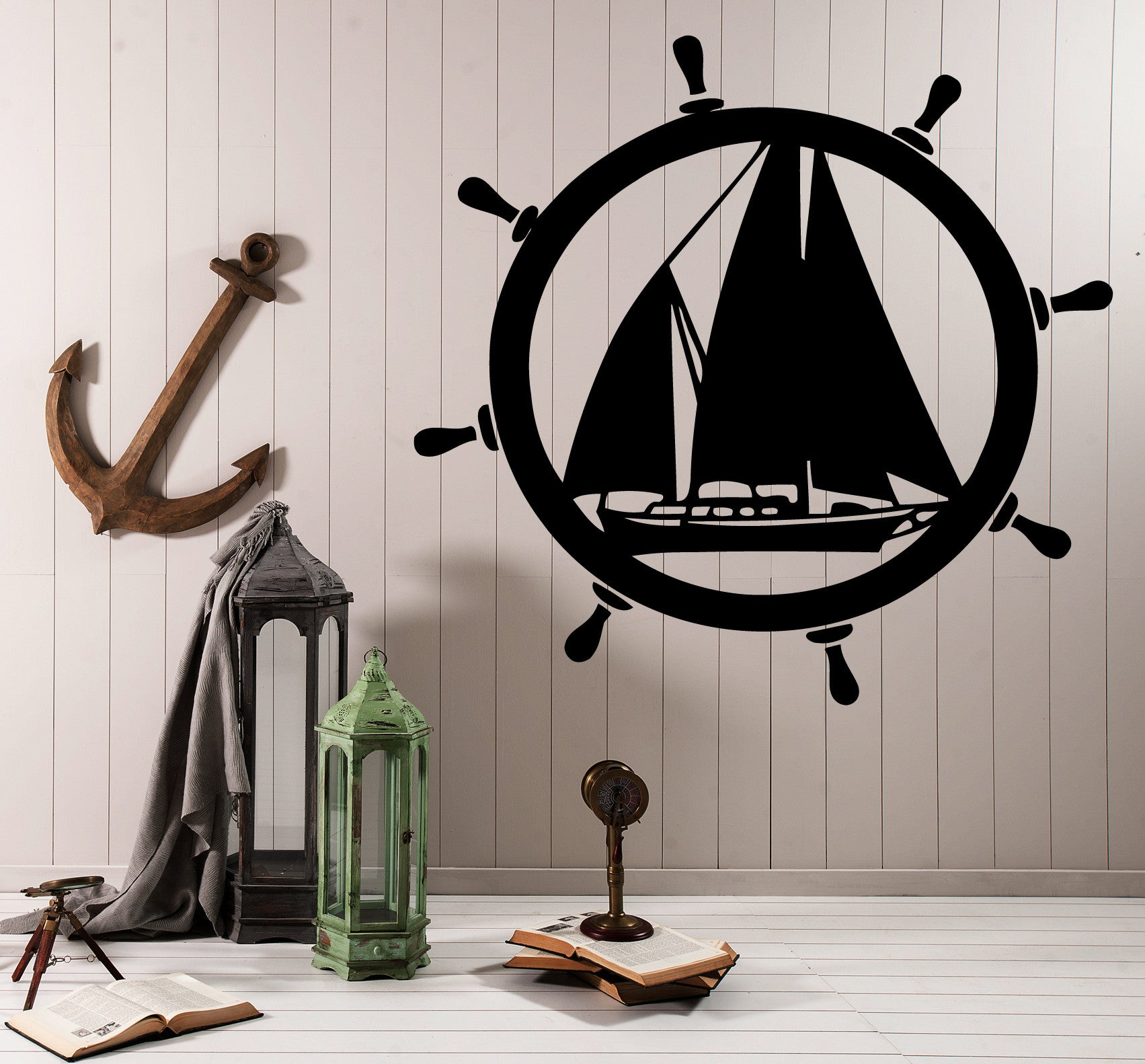 Vinyl Decal Wall Sticker Decor Elements of Sea Ship Steering Wheel Unique Gift (M614)