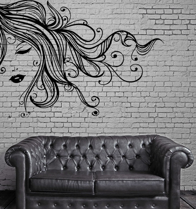 Sexy Girl Face Full Lips Curly Long Hair Wall Art Mural Vinyl Decal Sticker Unique Gift (M618)