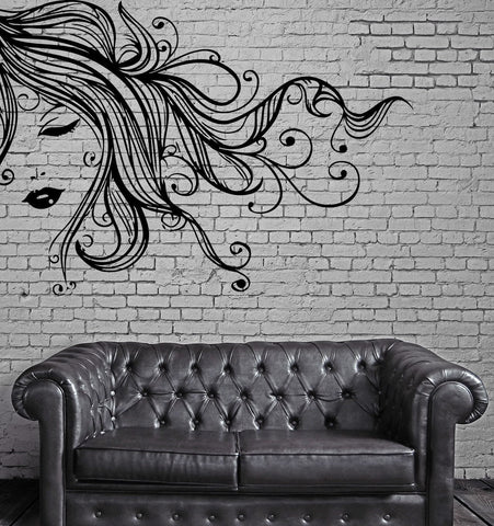 Sexy Girl Face Full Lips Curly Long Hair Wall Art Mural Vinyl Decal Sticker (M618)