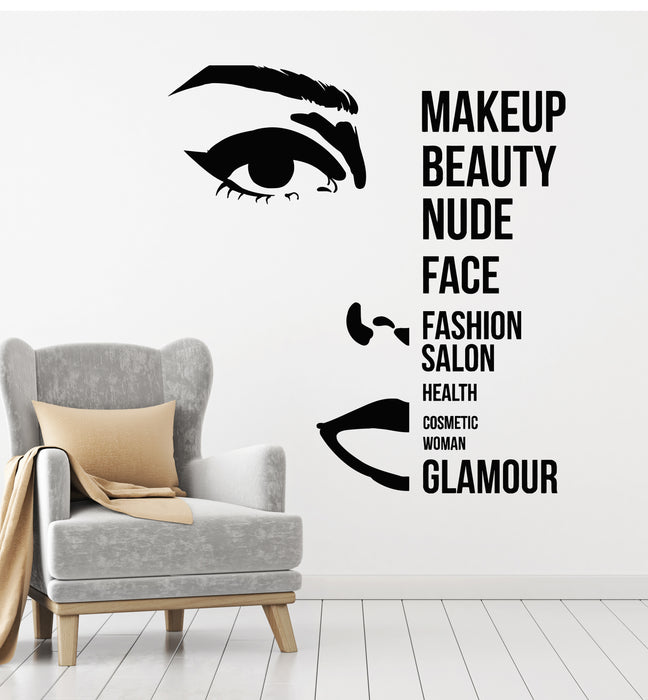Vinyl Wall Decal Makeup Beautiful Face Beauty Fashion Salon Stickers Mural (g2893)