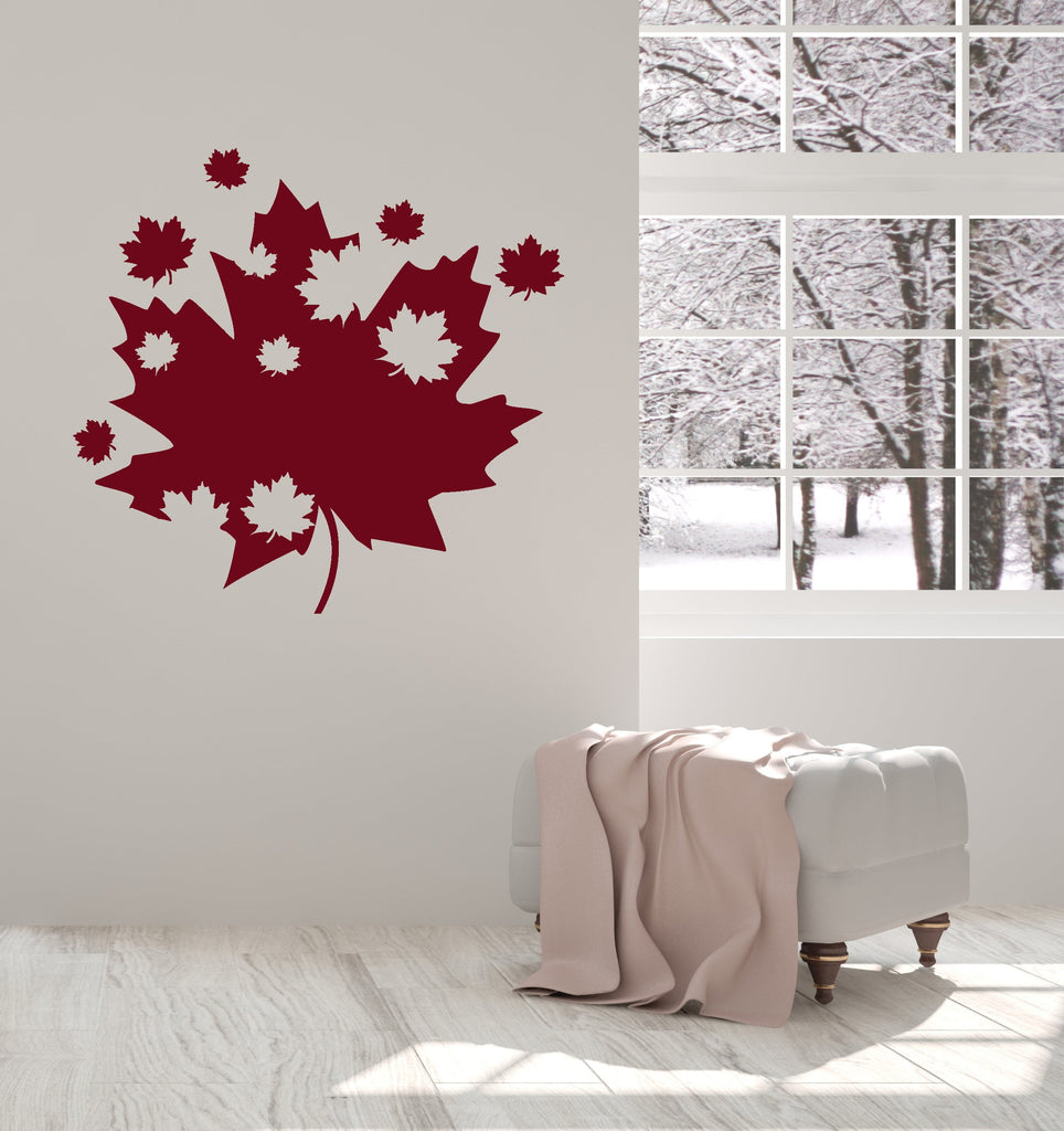 Vinyl Wall Decal Maple Leaves Canadian Art Canada Room Decoration Interior Stickers Mural (ig5535)  sc 1 st  Wallstickers4you & Vinyl Wall Decal Maple Leaves Canadian Art Canada Room Decoration ...