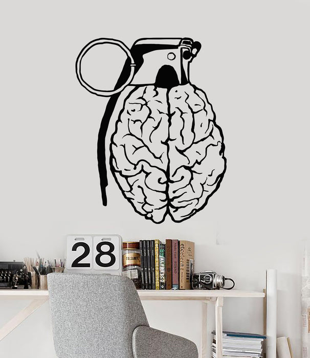 Vinyl Wall Decal Creative Brain Grenade Mind Anatomy Stickers Mural (g1729)