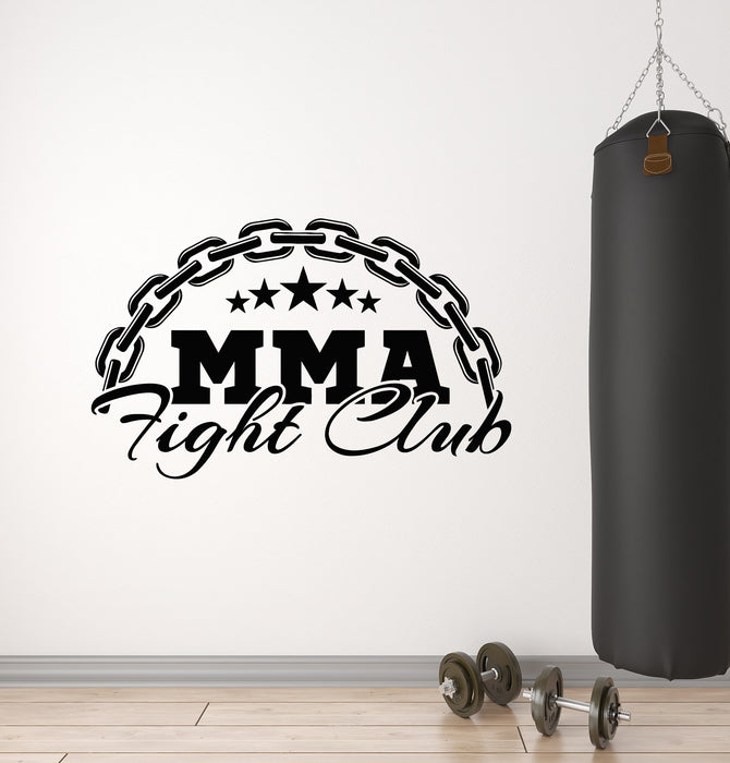 Vinyl Wall Decal Martial Arts Lettering MMA Fight Club Stars Gym Stickers Mural (g1668)