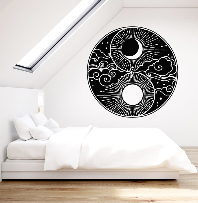 Vinyl Wall Decal Abstract Moon Sun Sky Day Night Bedroom Decor Sticker Wallstickers4you