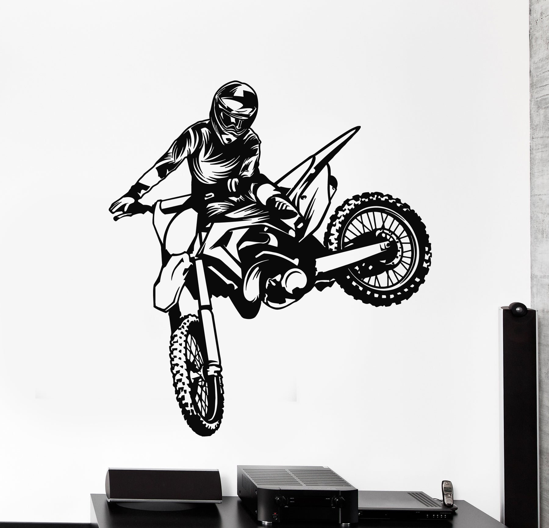 Vinyl Wall Decal Biker Freestyle Motorcycle Speed Extreme Sports Stickers Mural (g690)