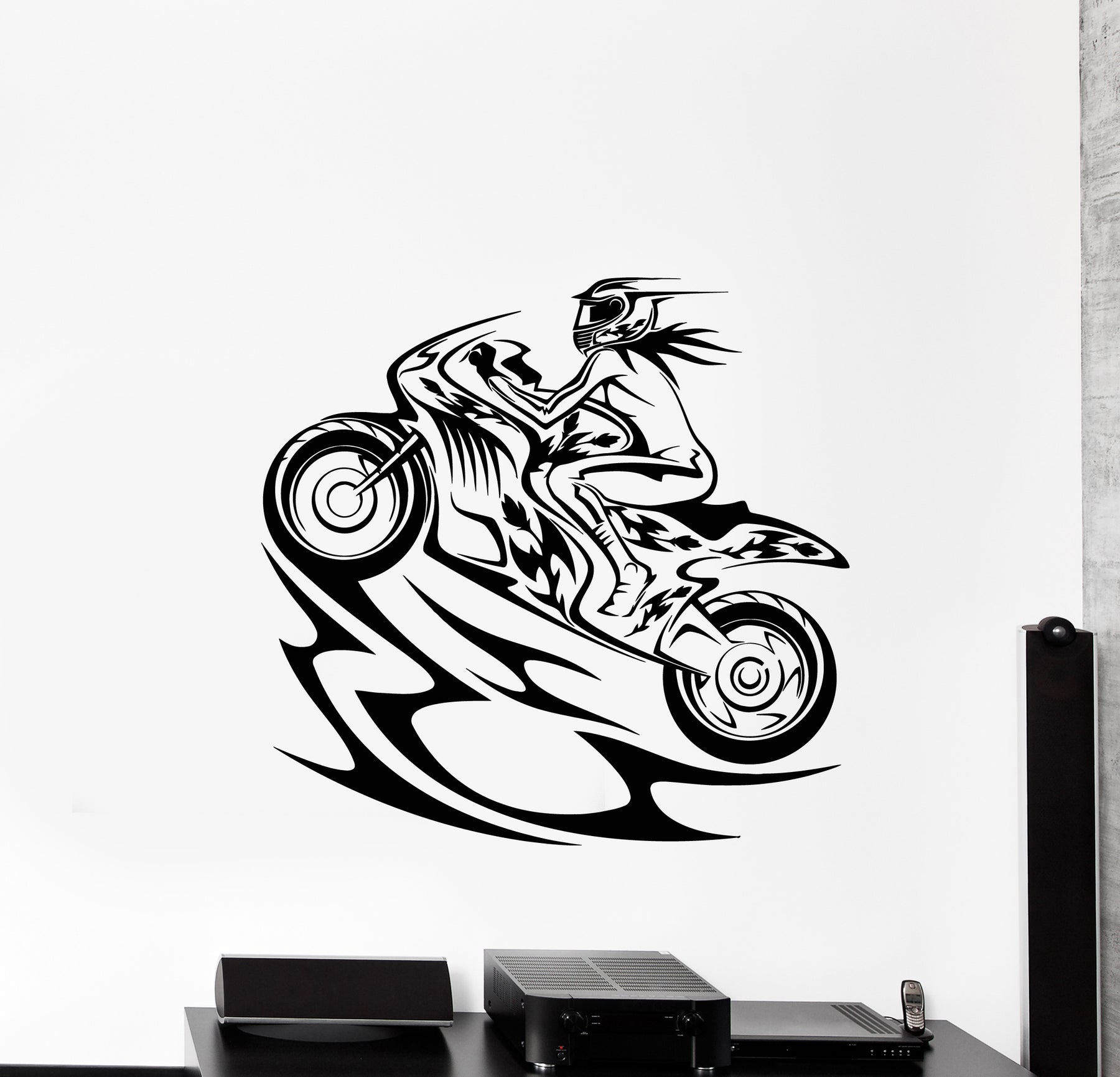Vinyl wall decal girl biker motorsports bike race speed extreme sport stickers mural g522