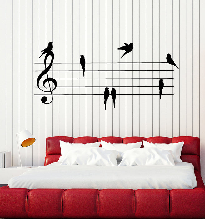 Vinyl Wall Decal Birds Musical Notes Room Decor Music Stickers Mural Ig4200