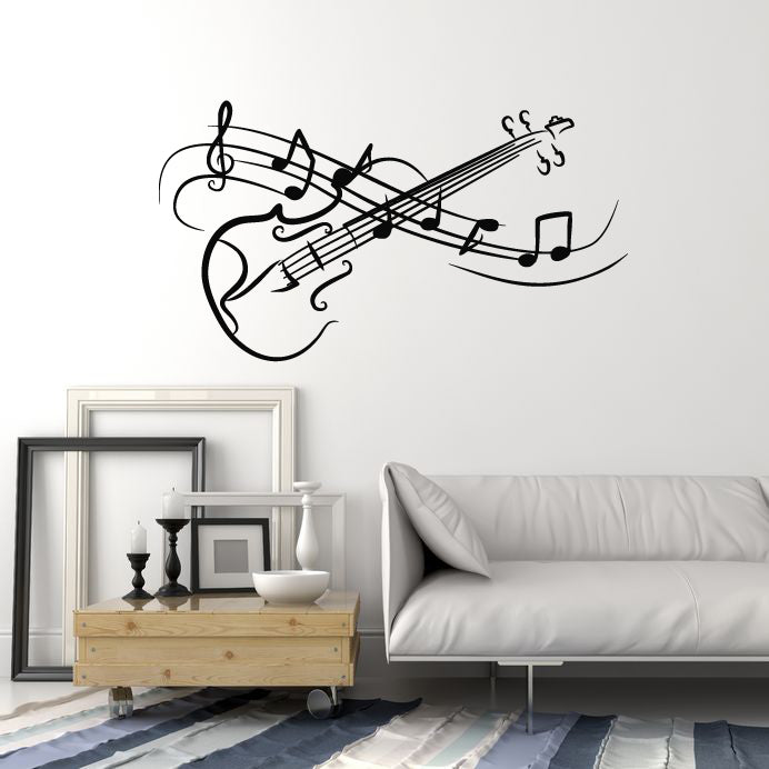 Vinyl Wall Decal Music Notes Violin Abstract Musical Instrument Stickers Mural (g2644)