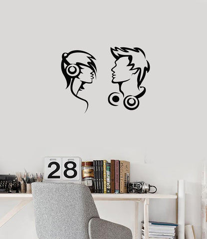 Vinyl Wall Decal Musical Couple Headphones Music Teen Room Interior Stickers Mural (ig5999)