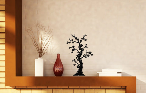 Bonsai Tree Japanese Culture Abstract Nature Oriental Decor Vinyl Decal Wall Sticker (n001)