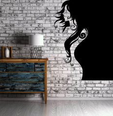 Vinyl Decal Beautiful Woman Portrait Wall Sticker Outline Beauty Sexy Girl Hair Weave Unique Gift (n004)