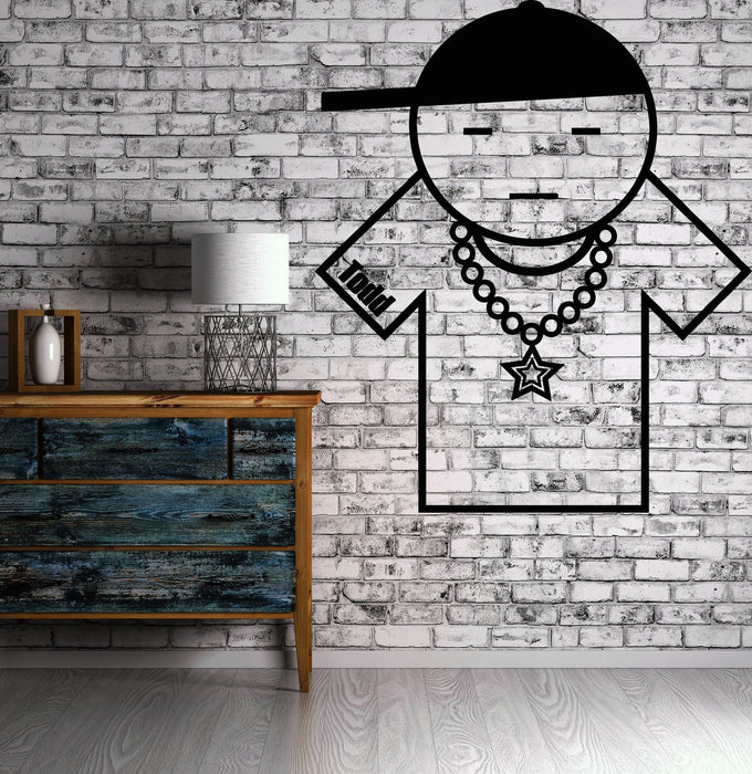 Vinyl Decal Musical Image Wall Stickers Cool Rapper Star Todd Cap and Chain Decor Unique Gift (n012)