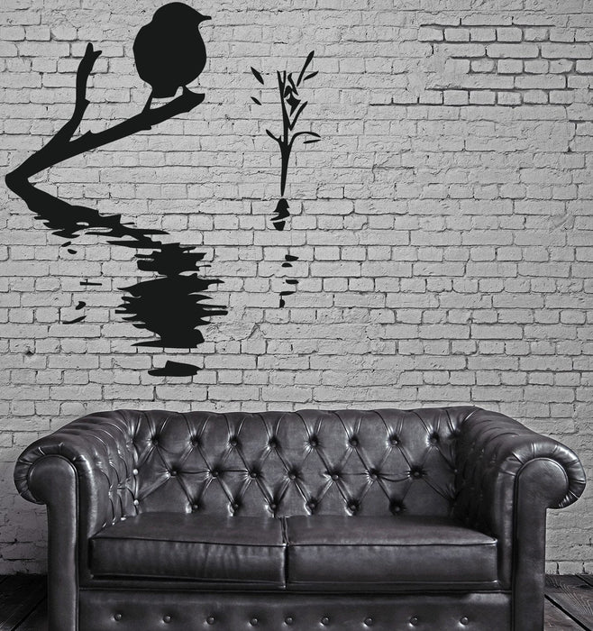 Decor Wall Sticker Vinyl Decal Bird on Branch Water Waves Reed Unique Gift (n103)