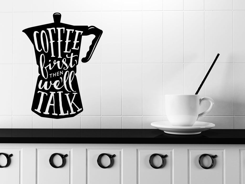 large wall vinyl decal words on coffee pot quotes about coffee