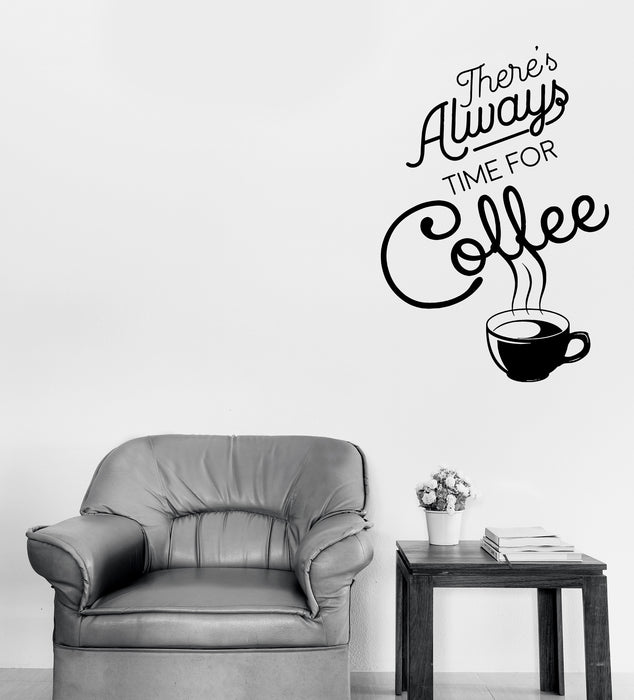 wall vinyl decal time for coffee words quotes coffee shop sticker