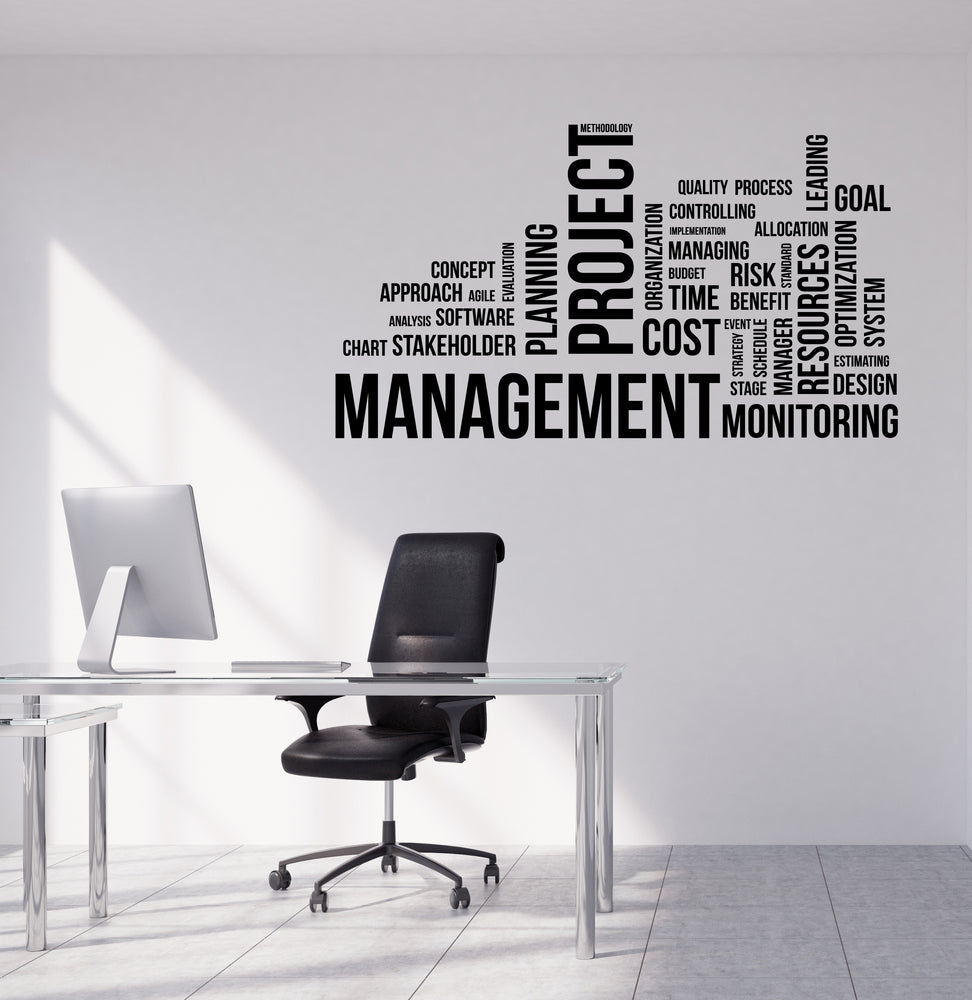 Vinyl Wall Decal Word Cloud Project Management Office Interior Decor Unique Gift (n1224)