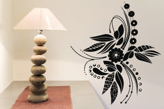 Vinyl Decal Beautiful Flower Floral Ornament for Decor Rooms Wall Stickers Unique Gift (n201)