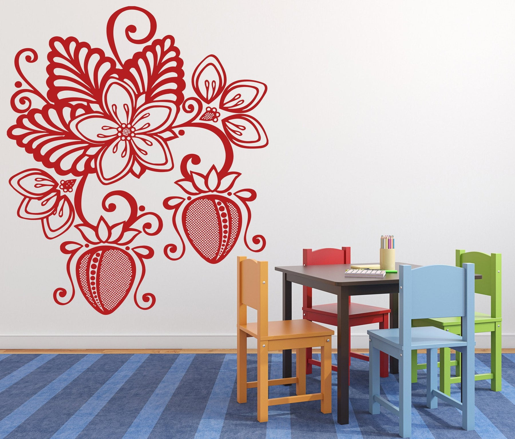 Vinyl Decal beautiful floral pattern strawberries Wall Sticker Unique Gift (n204)