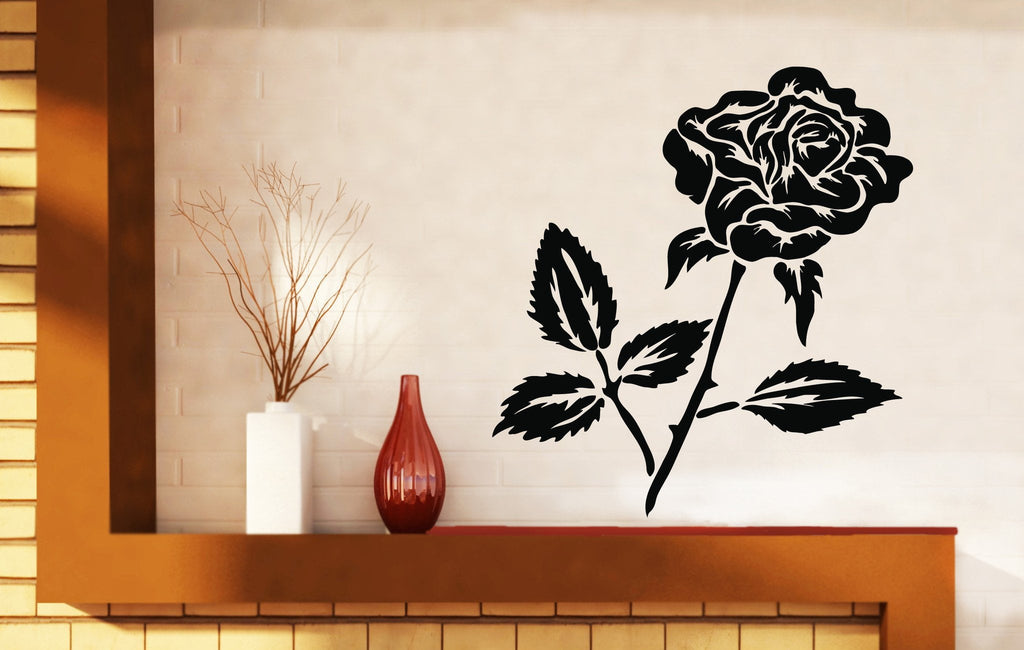 Vinyl Decal Beautiful Flower Bud Rose Thorns Leaves Wall Stickers Unique Gift (n206)
